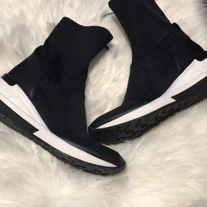 Michael Kors Black White zip Nylon stretch Boots